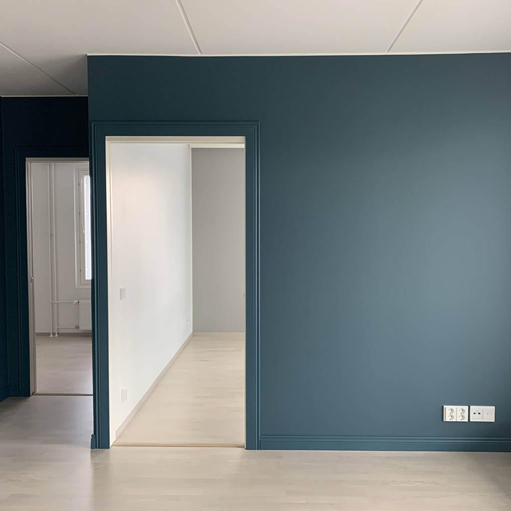 Olohuoneen seinät ja listoitus - Tikkurila N438