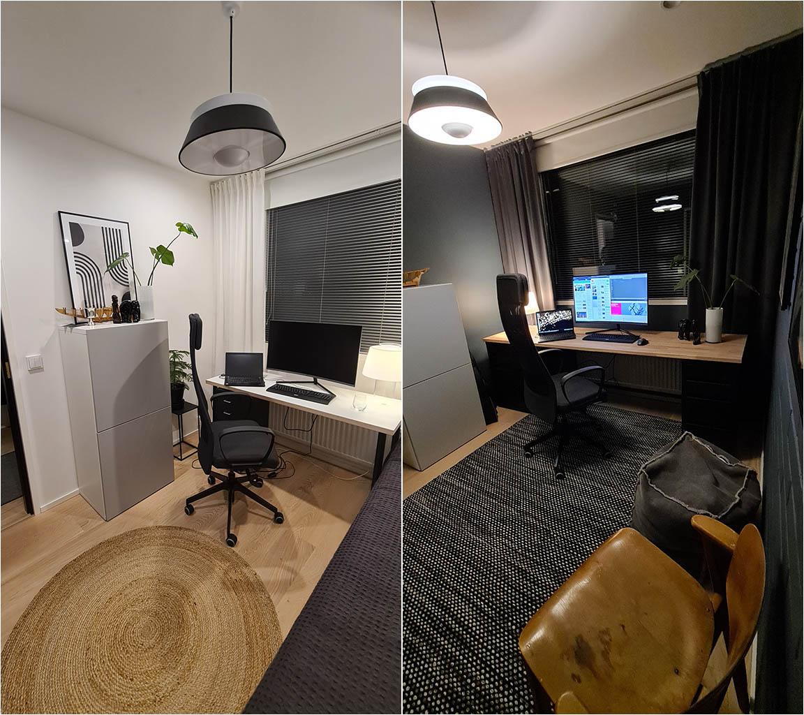 Työhuoneen muutos - ennen ja jälkeen - Teknos T1483